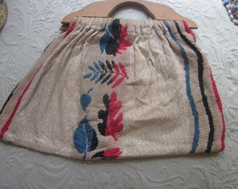 lot of four vintage sewing bags, wood handles, 1 drawstring, knitting bag, sewing