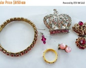 MOVING SALE Half Off Destash Craft Lot of Vintage and Salvaged Shades of Pink Rhinestone Jewelry for Assemblage