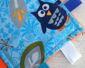 READY TO SHIP - Blue Owl Crinkle Square - Ribbon Tag Fabric Baby Toy