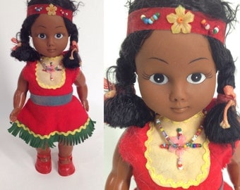 vintage Indian Girl Doll. Native American Indian Doll. Souvenir Doll. Tourist Doll. 50s Doll. Red Dress Braids. Nostalgic Gift.Carlson Doll