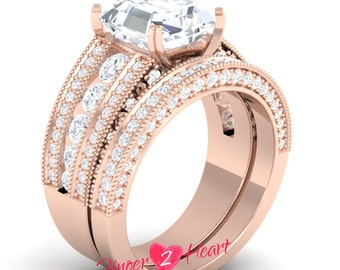 3.10 Ct White Princess Cut Bridal Wedding Ring Set 925 Sterling Silver Engagement Ring with Band Set 10K Rose Gold Finish Promise Ring Set