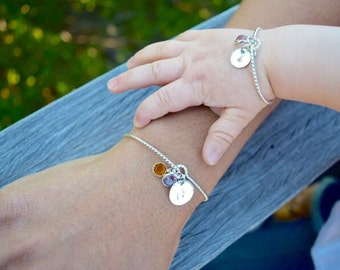 Baby Jewelry - Hand Stamped Mom and Daughter Matching Birthstone Bracelet Set - Gold Filled Sterling Silver - Newborn Infant Jewelry Gift