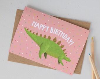 Dinosaur Birthday Card, Stegosaurus Birthday Card, Pink Dinosaur Card, Cards for Girls, Cards for Her, Cards for Boys, Childrens Card