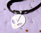 90's Faux Leather Black & White ANTICHRIST ALIEN Adjustable Choker Necklace with Acrylic Alien