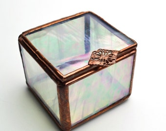 Stained Glass Box Hinged Lid Iridescent Clear