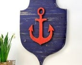 Anchor Pallet Shield Nautical Crest Sailing Ship Anchor Beach Rustic Distressed Ocean Home Decor