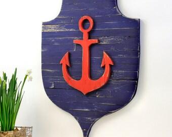 Anchor Pallet Shield Nautical Crest Sailing Ship Anchor Beach Rustic Distressed Ocean Home Decor