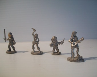Seven 1980s Grenadier miniature figurines . Dungeons and Dragons pewter figurines . signed . vintage . gaming figurines TSR figures fantasy