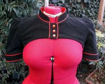black needlecord fitted shrug with red piping and red polka dot lining UK seller
