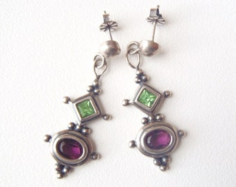 Vintage Sterling Silver Post Dangle Earrings Faceted Green Peridot and Purple Amethyst Granulation Exotic Colorful Gems & Silver Earrings