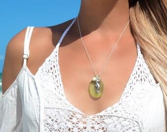 Seaglass Necklace Seahorse Necklace Sea Glass Pendant Sea Glass Jewelry Beach Glass Necklace Beach Glass Jewelry Seahorse Jewelry