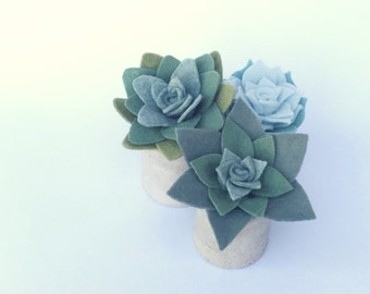 Set of 3 - Mini Cylindrical Concrete Planter with Felt Succulents - Cool Blues