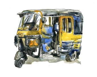 India sketch auto rickshaw in yellow and black , Mumbai, fine art print from a watercolor sketch