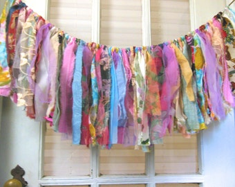 colorful fabric banner, boho home decor, 1st birthday, nursery wall hanging, window swag, blue pink purple, 29 X 11