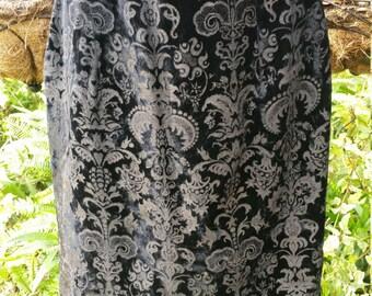 Vintage Velvet Black and Antique Gold Damask Todd Oldham Times 7 Pencil Skirt S