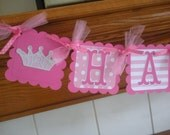 Pink Princess Birthday Banner, Pirate Happy Birthday Banner, Princess Crown and Pirate Skull Banner, Pink Black Banner Tissue Poms Available