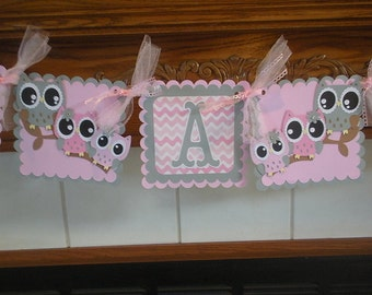 Owl Family Baby Banner, Pink and Gray Owl Family Banner, It's A Girl Owl Family Shower Banner, Gender Reveal Matching Tissue  Poms Available