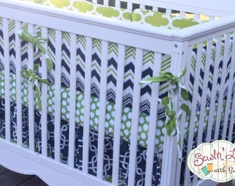 Baby Boy Bedding Blue and Green Stripes, Squares, Polka Dots, Chevron - Custom Baby Bedding - Custom Crib Bumper, Crib Skirt, Crib Sheet