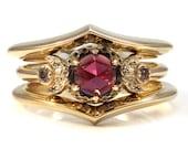 Garnet and Diamond Stacking Engagement Ring Set - Gold Lunar Wedding - Crescent Moon Ring