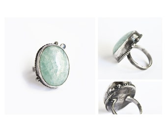 Mermaid Song - OOAK giant aquamarine and rainbow moonstone sterling silver ring