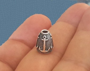 4 Sterling Silver One of its kind Anchor mariner bead cap end caps cones