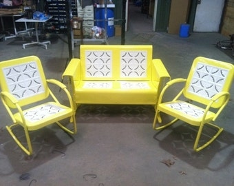 Vintage Metal Porch Glider Patio Swing Rockers Loveseat Old Restored Powdercoated Yellow FREE SHIPPING