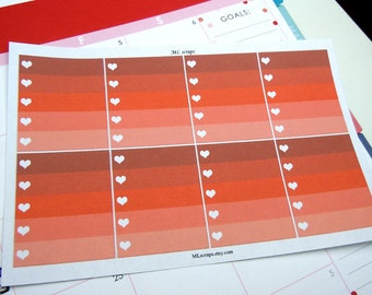 Red Ombre Heart Checklists-Set of 8