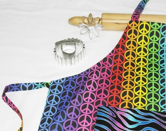 Rainbow Peace Signs Youth Size Apron with Zebra Pocket
