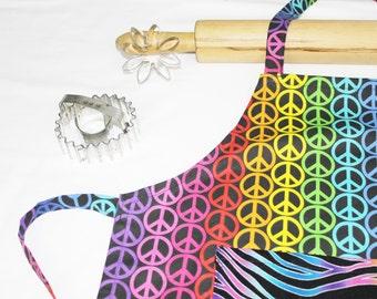 Rainbow Peace Signs Child Apron - with zebra pocket