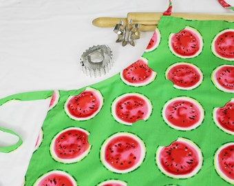 Watermelon Slices on Green Adult Apron