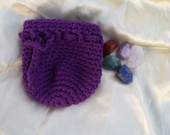 Healing Chakra stones set with violet purple crochet drawstring coin dice bag pouch purse sack