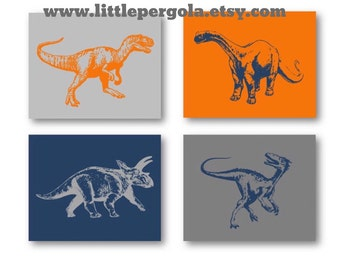 "Dinosaur Decor // Dinosaur Nursery Decor // Dino Art for Kids // Dinosaur Wall Art for Kids // Dino Art, Four 8x10"" PRINTS ONLY Unframed"
