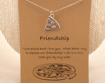 Pizza Slice Necklace: Slice of Pizza Friendship Necklace, Best Friends, Pizza Necklace, Pizza Slice, Bridesmaid, Wish, Food Jewelry
