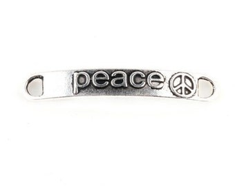 4 Peace Connector Charms, Peace Sign Charms, Peace Connectors, DIY Charms, Silver Charms, Silver Connectors, Peace Signs, Connectors, Charms