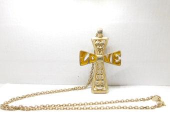 Vintage Large Hippie Renaissance Cross Pendant Love Necklace