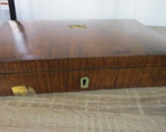 Antique Dove Tail Wood Wooden Deed or Title  Box L