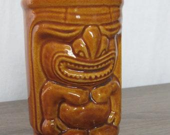 Vintage Orchids of Hawaii Brown Tiki Man Mug box p