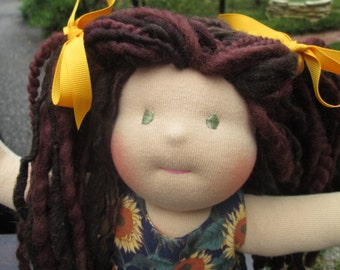 """Waldorf Doll Girl 12"""" - Ready to Ship - Brunette Brown Hair"""
