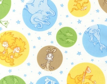 SALE Dr. Seuss Pastel Girl or Boy Fabric Robert Kaufman Brown Blue Green Yellow Baby