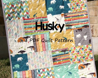 Husky Quilt Pattern Big Block Fat Quarter and Fat Eighth Friendly Throw Baby Lap Twin Queen King Fast Easy Modern Fabrics Sunnyside Design