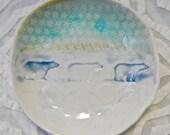 Polar Bear Dish, Wildlife ceramic bowl, hostess gift, Rustic Deocr, Polar Bear Decor, Ring bowl, Ring dish, Northern Decor, Holiday Decor