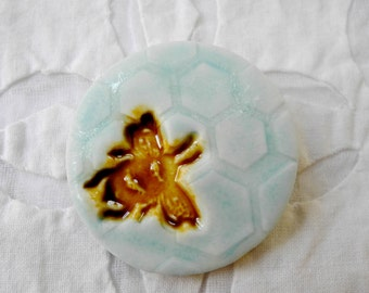 Bee Brooch, hexagon Pin, Bee Jewelry, porcelain brooch, pottery pin, Bumble bee, ceramic brooch, bridesmaid favor, save the bees, bee brooch