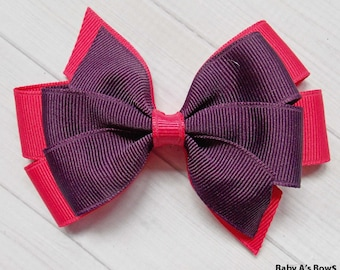 Pink and Plum Pinwheel Hair Bow - Pink and Purple Bow, Pinwheel Bow, Layered Bow, Fall Bow, Pink and Purple