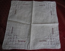 Vintage White Small Cotton Handkerchief Tatted Square Bridal/Wedding Something Borrowed 1940s to 1960s Reuse Resuable