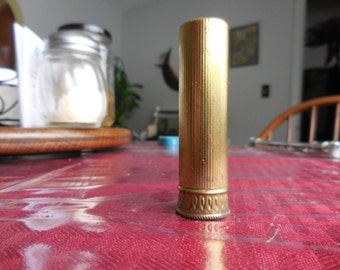 Vintage Gold Tone 1950s Metal Lipstick Tube/Container Max Factor Pink Frost Ultralucent Creme