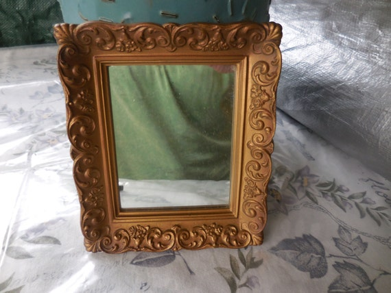 Vintage 1960s to 1970s gold plastic small framed mirror small for Small gold framed mirrors