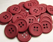 """Simply Cranberry: 3/4"""" (19mm) Matte Finish Cranberry Red Buttons - Set of 25 New / Unused Matching Buttons"""