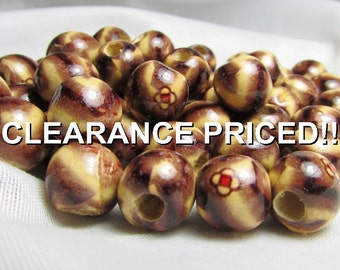 CLEARANCE! Groovy Love: Retro 12mm Wooden Beads - Set of 50