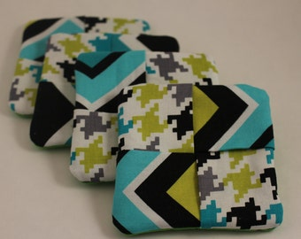 Bright blue and green geometric fabric drink coasters Set of 4