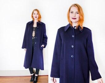 YVES Saint LAURENT 1980s Coat - YSL Vintage Rive Gauche Navy Blue Wool  - Medium / Large
